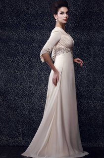 Half-Sleeve V-Neck Floor-Length Dress With Beaded Waist