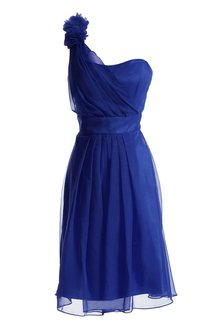 One-shoulder Appliqued Knee-length Pleated Chiffon Dress