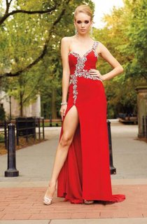 Taffeta One-Shoulder Jeweled Applique Dress With Side Slit