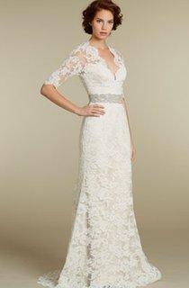 Stylish 3-4 Sleeve Long Lace Dress With Crystal Embellished Waist