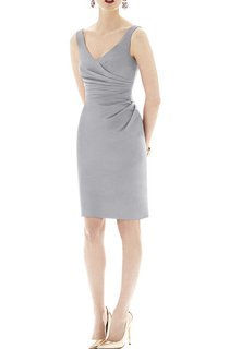 Sheath V-neck Satin Short Dress with Ruching