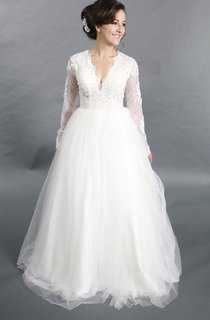 V-Neck Tulle Long Sleeve Dress With Lace Bodice