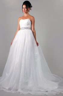 Organza A-Line Sweetheart Dress With Waist Rhinestones and Back Bow