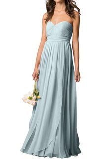 Sweetheart Pleated Chiffon Long Bridesmaid Dress