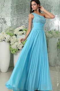 Sleeveless Chiffon Pleated A-Line Long Dress With Beaded Bodice