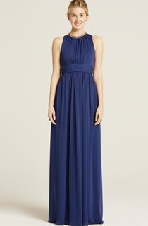 Impressive Long-Chiffon Sleeveless Jewel-Neck Dress