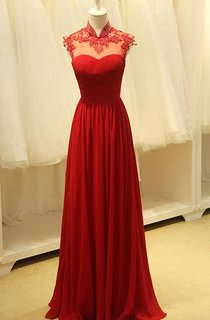 Cap-sleeved A-line Long Gown with Keyhole and Appliques