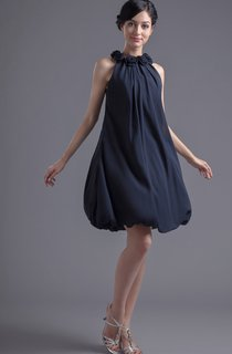 Strapless Chiffon Short Dress With Floral Neckline