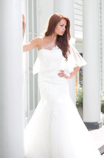 One-Shoulder Mermaid Lace Gown With Tulle Cape and Lace-Up Back