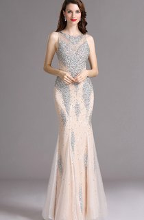 Sheath Bateau Sleeveless Tulle Beading Illusion Dress