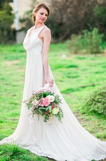 Cowl Neck Sleeveless Chiffon Dress With Front Slit and Lace Back