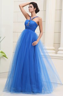 Sleeveless Tulle A-Line Long Dress With Beaded Straps