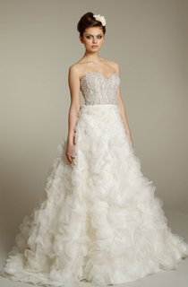 Stylish Organza Ruffle Dress With Beaded Bodice