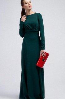Bateau Long Sleeve Sheath Jersey Floor Length Dress With Ruching