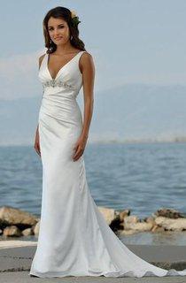 Sexy V Neck sheath Sweep Train Beaded Beach Wedding Dresses