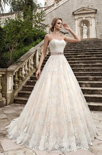A-Line Long Sweetheart Sleeveless Lace-Up Lace Dress With Sash And Beading