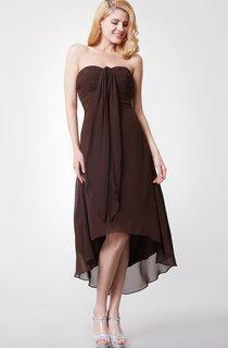 Beaded Sweetheart Bodice High Low Chiffon Dress With Ruching