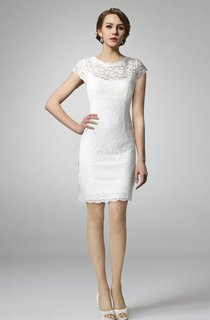 High Neck Form Fitting Lace Short Wedding Dress