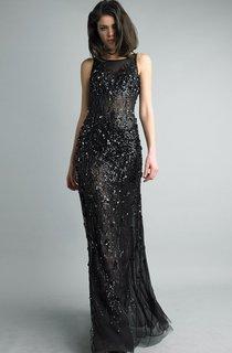 Sheath Floor-length Jewel Sleeveless Tulle Zipper Dress