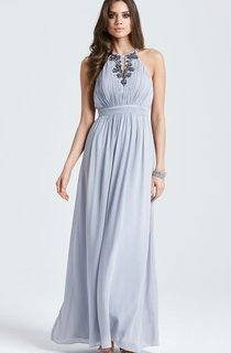 Sleeveless Long Chic Chifon Dress With Beadings