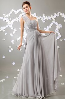 Chiffon One-Shoulder Empire Dress With Pleating