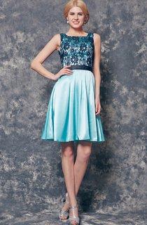 Bateau Neckline A-line Short Charmeuse Dress With Lace Appliques