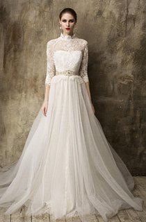 Lace Bodice High Neck 3-4 Sleeve Tulle Skirt Dress With Beadings