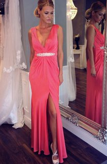 Sleeveless V-neck Long Sheath Dress with Beadings
