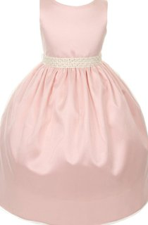 Sleeveless A-line Beaded Dress With Pleats and Bow