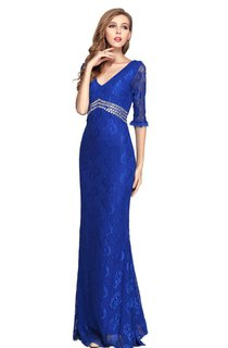 Half-sleeved Long Lace Dress With Sequiend Waist