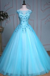 Ball Gown Tea-Length Bell Cap Bat Beading Appliques Court Train Corset Back Tulle Lace Sequins Dress