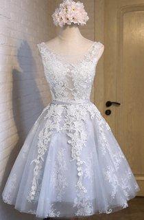 New Arrival Sleeveless Jeweled Knee-length A-line Lace Dress