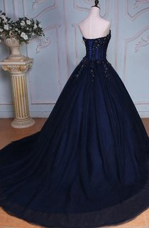 Ball Gown Floor-Length Sweetheart Sleeveless Bell Beading Appliques Court Train Corset Back Tulle Lace Dress