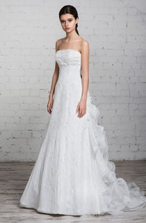 A-Line Floor-Length Strapless Sleeveless Corset-Back Lace Dress With Ruffles And Beading