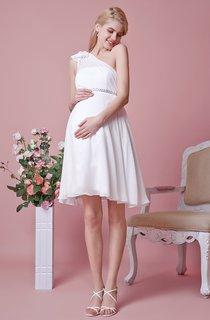 One Shoulder Short Chiffon Dress With Sash