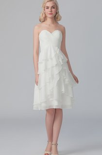 Side Draped Sweetheart Dress With Crisscross Bodice