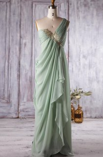 One-Shoulder Empire Dress With Draping And Appliques