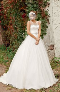 Ball Gown Long Scoop Sleeveless Illusion Satin Dress With Ruching And Beading