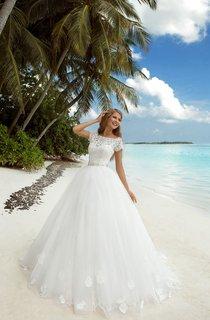 A-Line Maxi Bateau-Neck Long-Sleeve Tulle Dress With Beaded