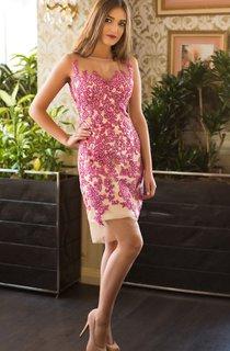 Sheath Short Bateau Sleeveless Lace Appliques Illusion Dress
