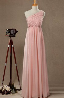 One Shoulder Empire Pleated A-line Chiffon Floor Length Dress
