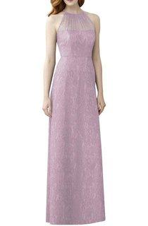High-neck Illusion Lace Long Bridesmaid Dress