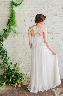 Sweetheart A-Line Chiffon Dress With Short Lace Sleeves and Lace Back