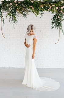 Bateau Neck Lace Cap Sleeve Column Satin Gown With Deep-V Back