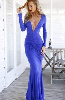 Modern V-neck Long Sleeve Mermaid Prom Dress Open Back