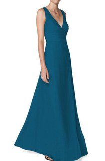 V-neck A-line Floor-length Bridesmaid Dress