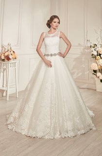 A-Line Floor-Length Scoop-Neck Sleeveless Lace-Up Lace Dress With Beading And Appliques