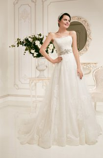 Floor-length Strapless Sleeveless Lace Appliques Dress With Crystal Detailing