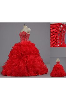 Ball Gown Floor-Length Bell Beading Ruffles Corset Back Lace Organza Dress
