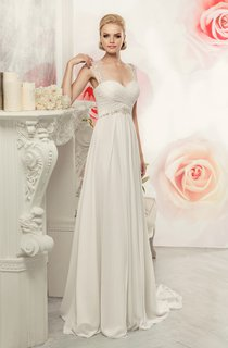 Sheath Maxi Queen-Anne Sleeveless Empire Keyhole Chiffon Dress With Criss Cross And Waist Jewellery